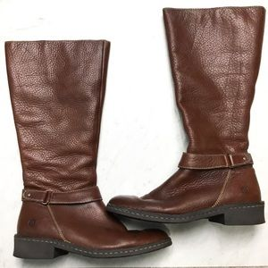 Born Brown Leather Tall Riding Boots